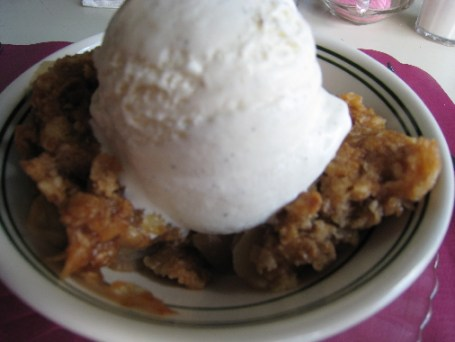 Hot apple crisp with cold vanilla ice cream