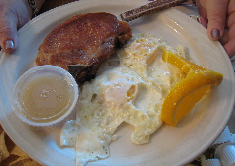 Pork chops and eggs