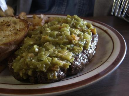 The Bobcat Bite's hamburger steak with green chile.