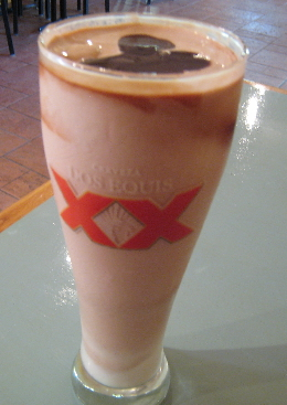 A thick, cold and delicious chocolate shake