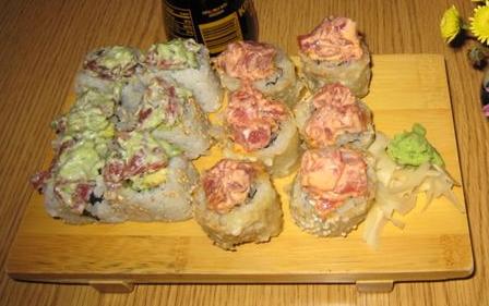 Noda's Green Mustard Roll and a Spicy Tuna Tempura Roll.