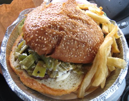 Dave Was Here Burger with Green Chile