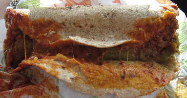 Roast beef burrito on whole wheat tortilla