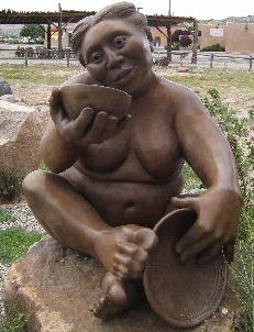 A bronze sculpture by Roxanne Swentzell
