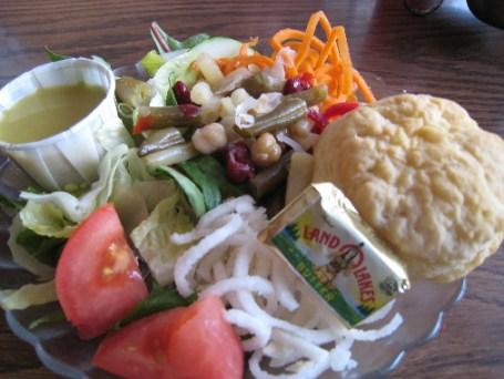 Side salad with citrus vinaigrette dressing