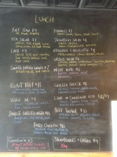The Butcher & Bee menu on Friday, April 18, 2014