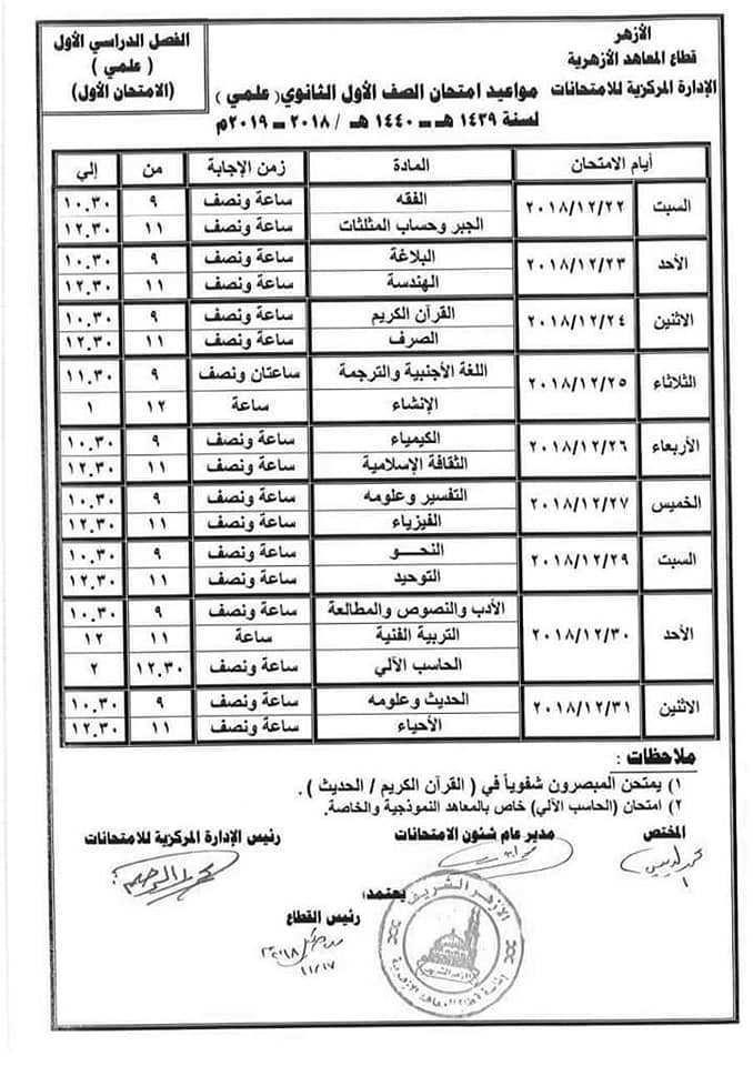 جدول امتحان أولى ثانوي أزهر ترم أول 2019