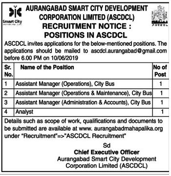 Aurangabad Smart City Development Recruitment 2020