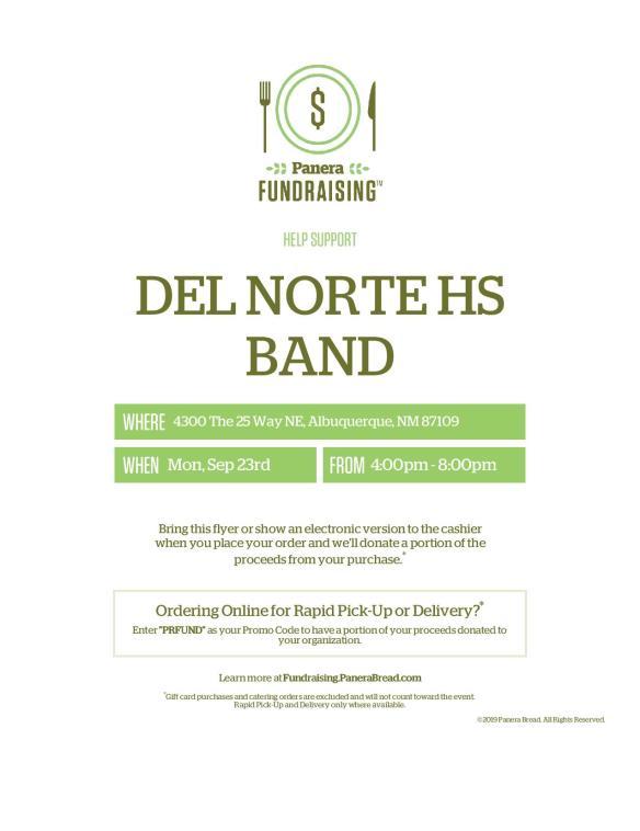 DNHS Band Panera Fundraiser Flyer