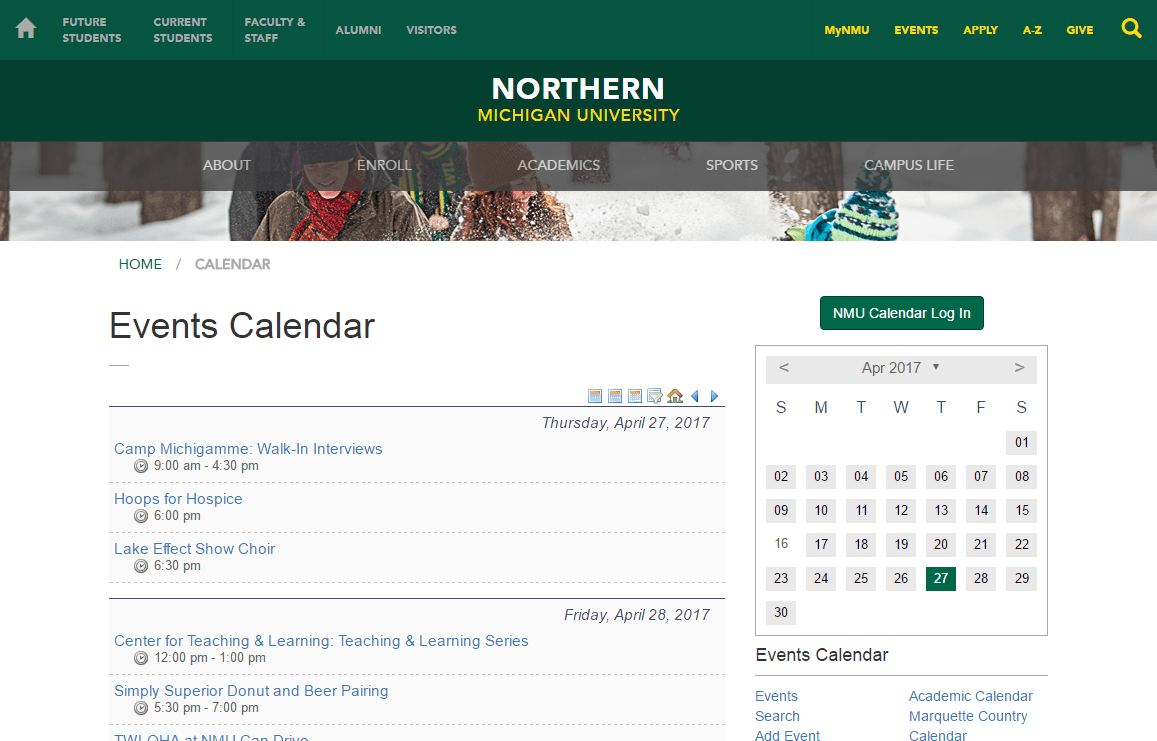 Calendars | Northern Michigan University
