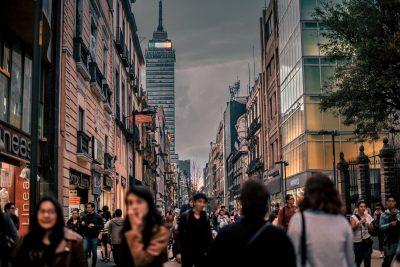 busy pedestrians in Mexico City