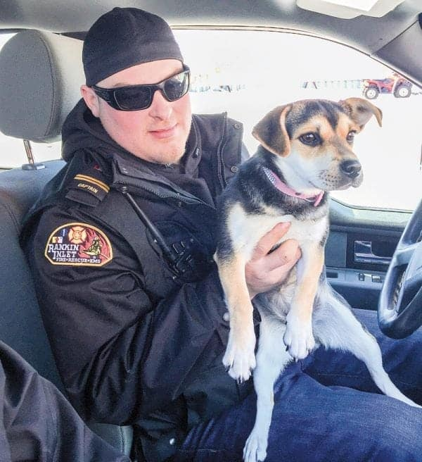 Volunteer firefighter and current bylaw officer Kyle Lowe distributes photos to social media in hopes of finding the owner of this beautiful pup he picked up in Rankin Inlet this past week. - photo courtesy of Mark Wyatt