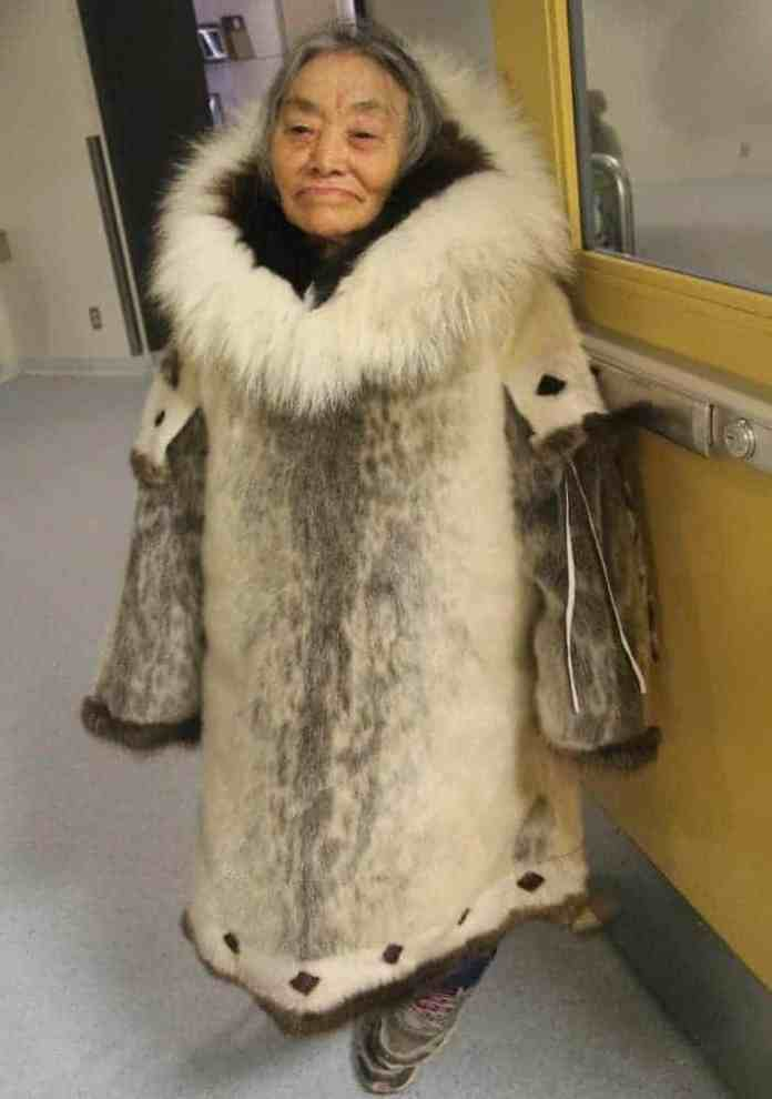 Elder Martha Atkichok dresses in a seal skin parka at the Umiyaqtutt Festival fashion show. In the modern clothing category, Salomie Qitsualiq prevailed and earned a $1,000 gift card from the Hamlet of Gjoa Haven. Claudia Apiana's second place prize was $750 while Mollie Apiana received $500 for third place.
