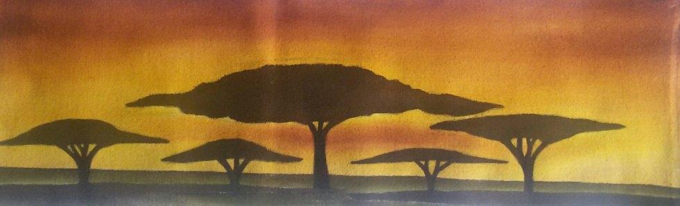Five Acacia Trees Medium Batik Size 22x6 inches Year 2015