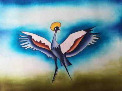 Title Landing Or Taking Off. Artist Nuwa Wamala Nnyanzi. Medium Batik. Code NWNWEB0 052012
