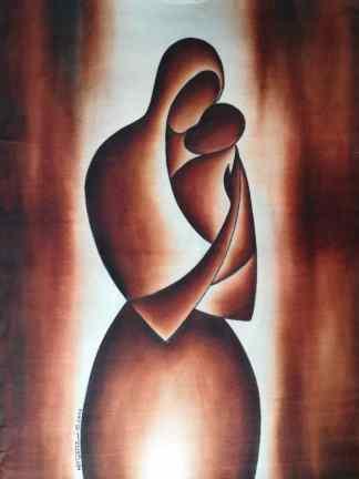 Title Madonna And The Baby. Artist Nuwa Wamala Nnyanzi. Medium Batik. Code NWN0202011