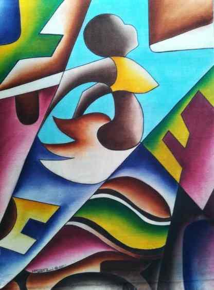 Title Scaling Heights. Artist Nuwa Wamala Nnyanzi. Medium Batik. Code NWNWEB0302011