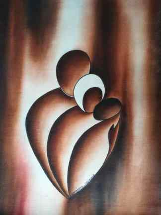 Title The Holy Family. Artist Nuwa Wamala Nnyanzi. Medium Batik. Code NWNWEB0562012