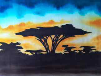 Title Acacia At Sunset. Artist Nuwa Wamala Nnyanzi. Medium Batik. Code NWN0122015