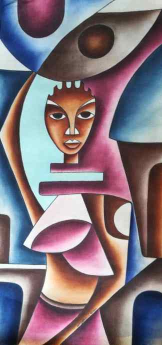 Title Eye Contact. Artist Nuwa Wamala Nnyanzi. Medium Batik. Code NWNWEB0072011