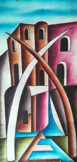 Title Facing Fort Jesus. Artist Nuwa Wamala Nnyanzi. Medium Batik. Code NWN0242010