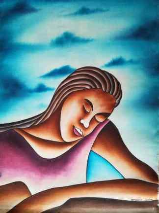 Title Fond Memories. Artist Nuwa Wamala Nnyanzi. Medium Batik. Code NWN012014