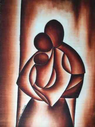 Title Interdependent. Artist Nuwa Wamala Nnyanzi. Medium Batik. Code NWN0192015