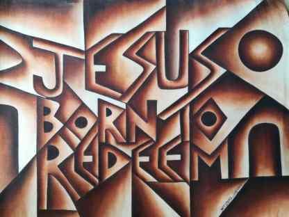 Title Jesus Born To Redeem. Artist Nuwa Wamala Nnyanzi. Medium Batik. Code NWNWEB0432011
