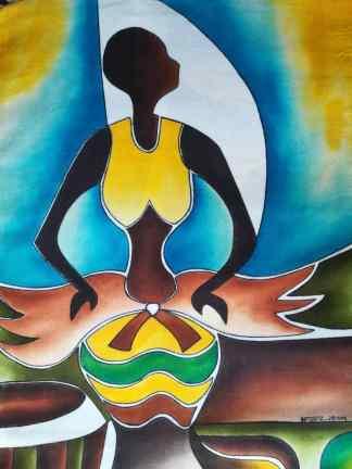 Title Muwogola Dancer. Artist Nuwa Wamala Nnyanzi. Medium Batik. Code NWN012014