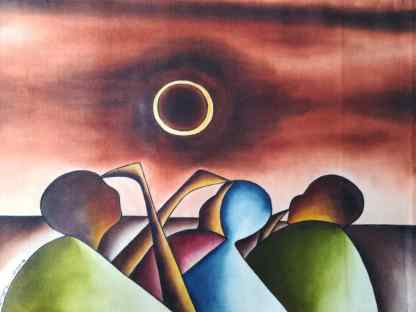 Title The LunarSolar Encounter. Artist Nuwa Wamala Nnyanzi. Medium Batik. Code NWN0012014