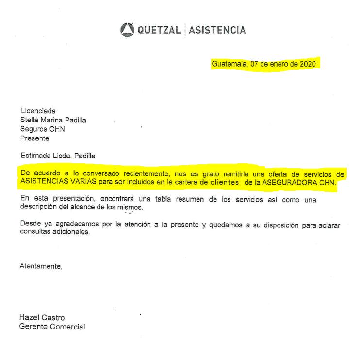 Quetzal Asistencia Carta