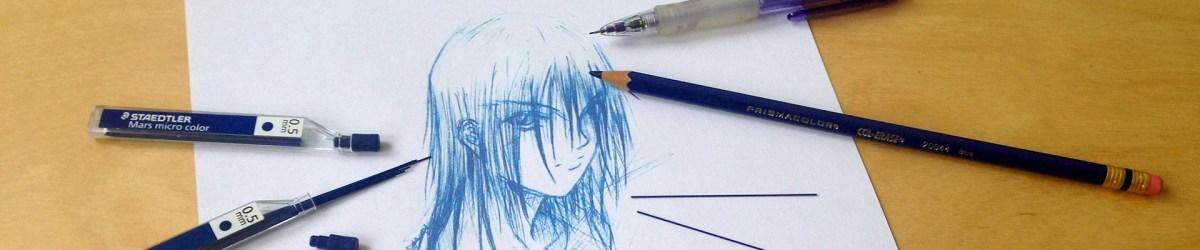 cours dessin crayon bleu
