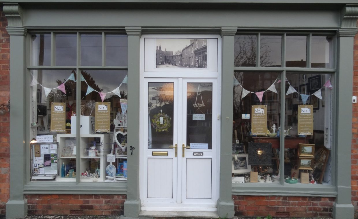 Businesses displayed in shop window