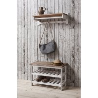 Shoe Storage Unit with Coat Rack in White & Dark Pine