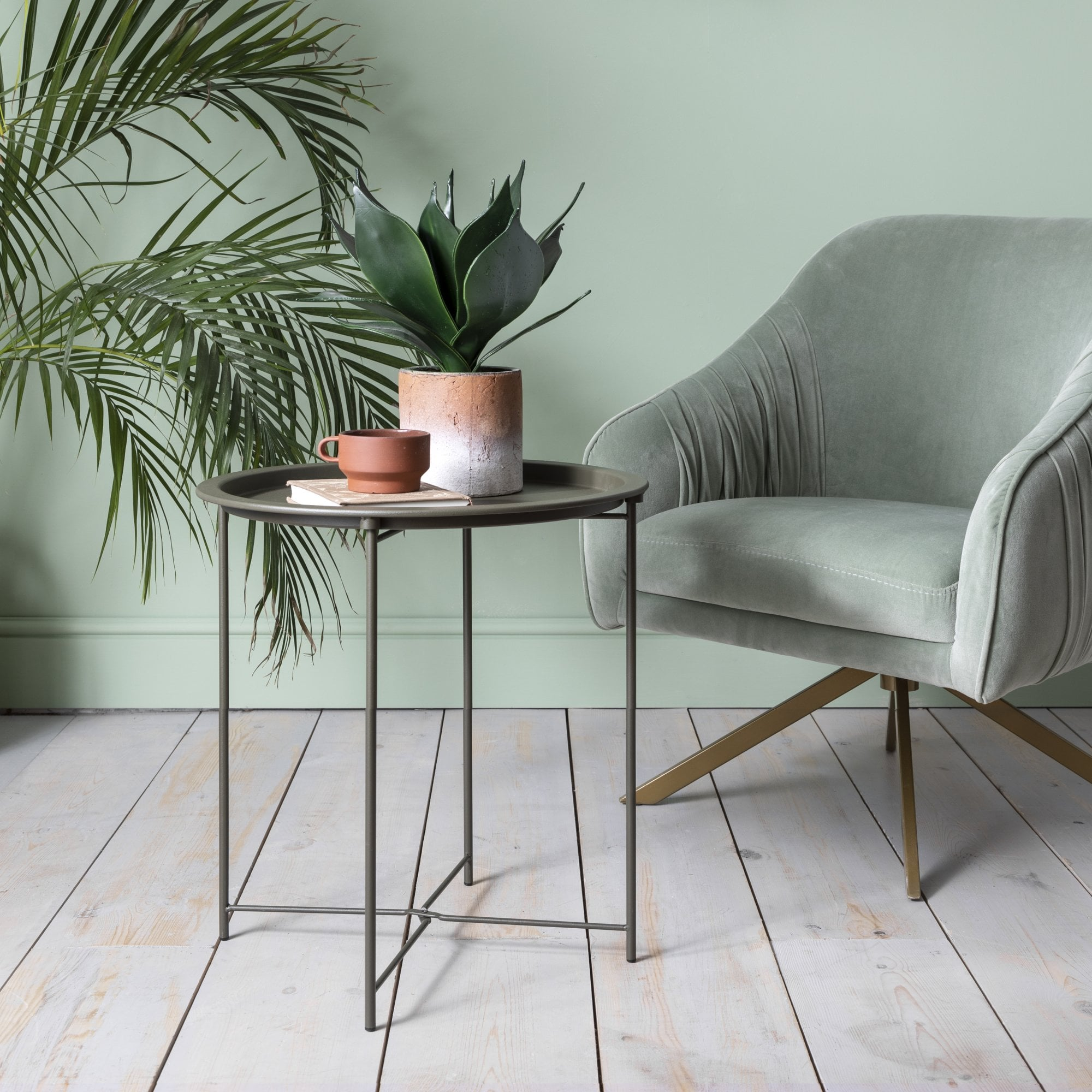 olive green metal side table
