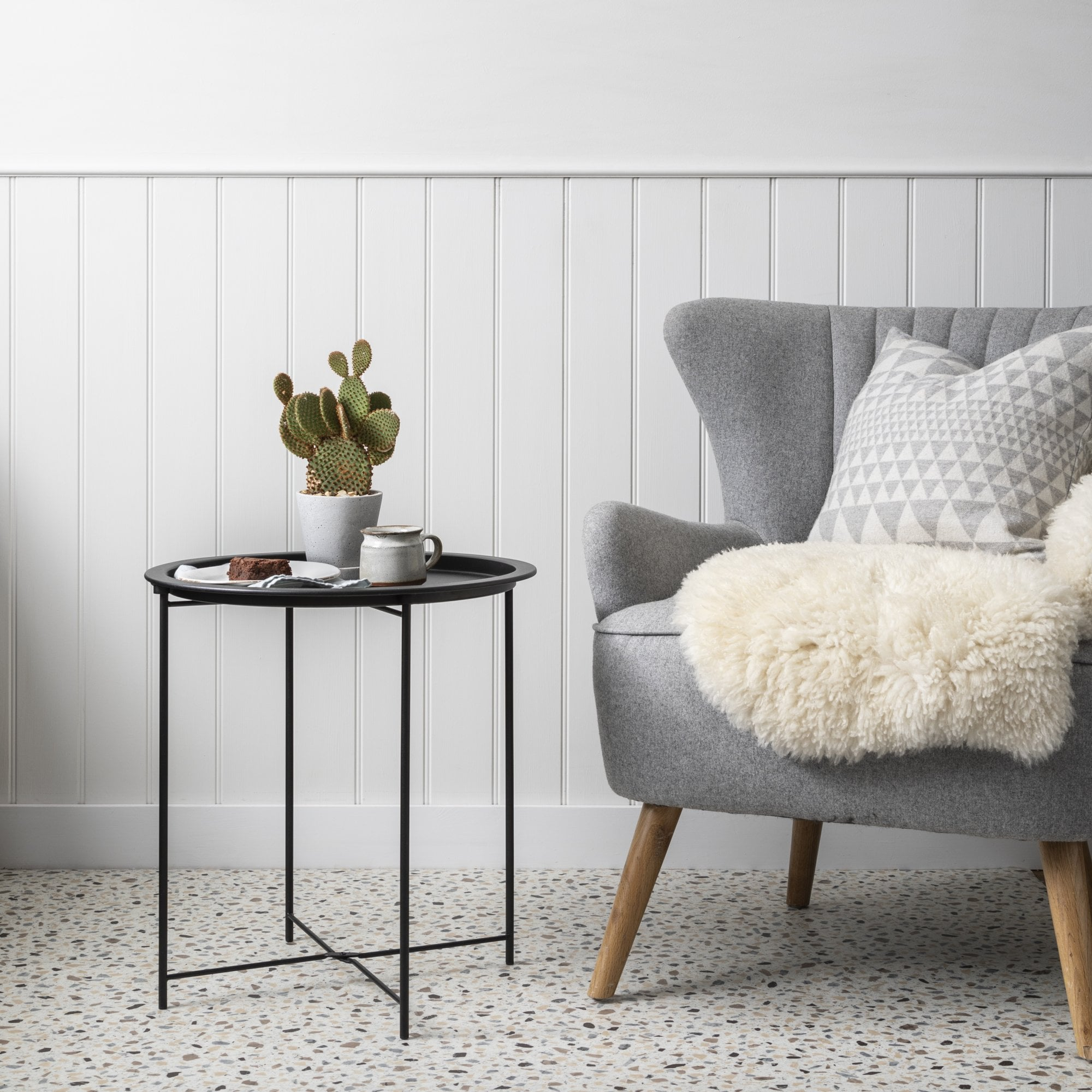 Solid Black Metal Side Table Noa Nani