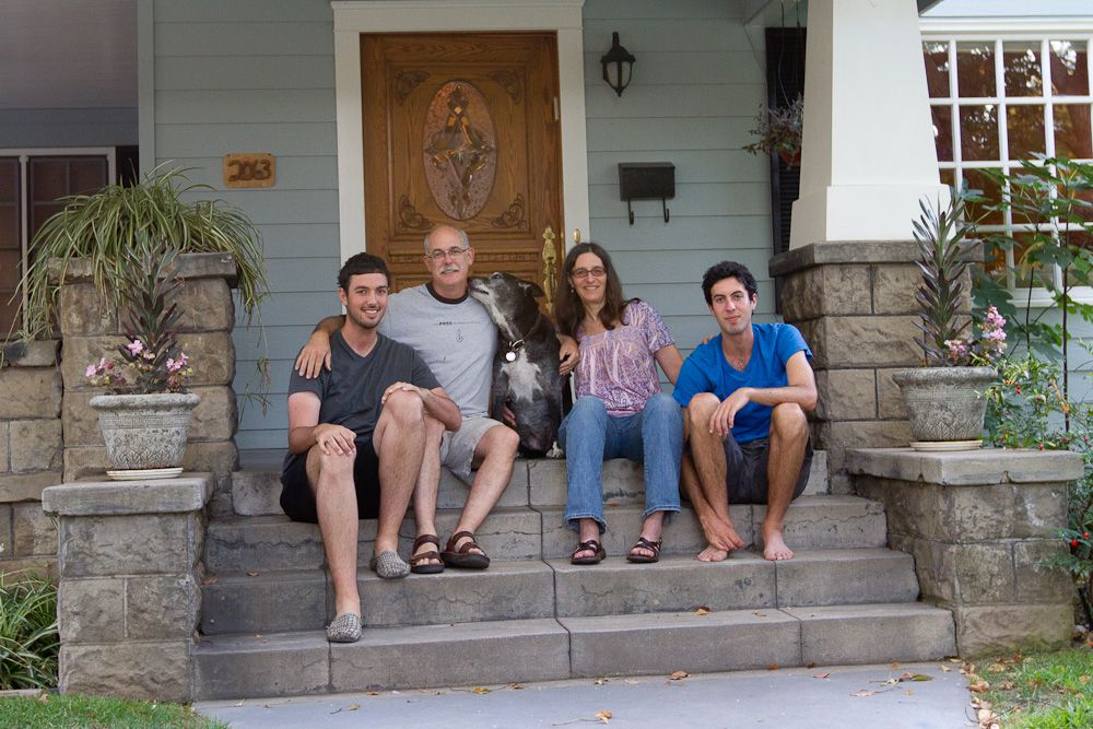 Family on front steps