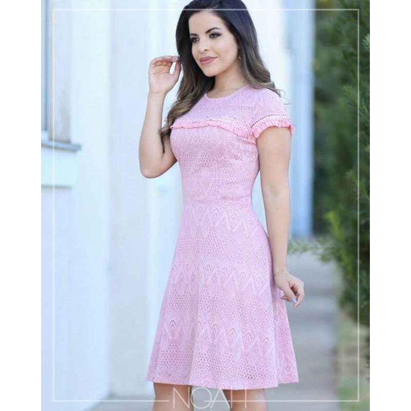 Raquel - Vestido evasê renda rose | Moda Evangelica e Executiva