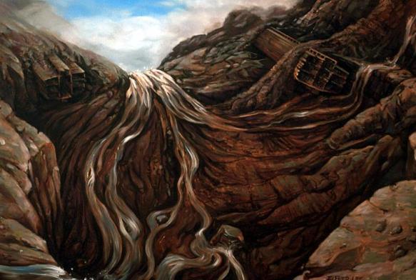 Ark breaking up on Ararat. Painting: Lee Elfred.