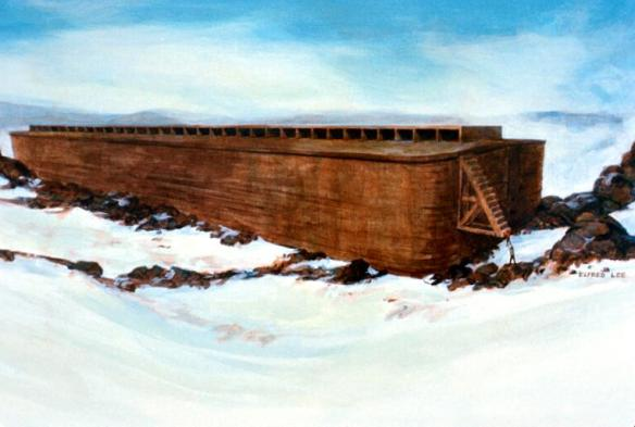 Noah's Ark on Ararat, as described by George Hagopian. Painting: Lee Elfred.