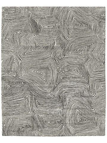 Maze in Black on Cream, 10 ft. x 14 ft.
