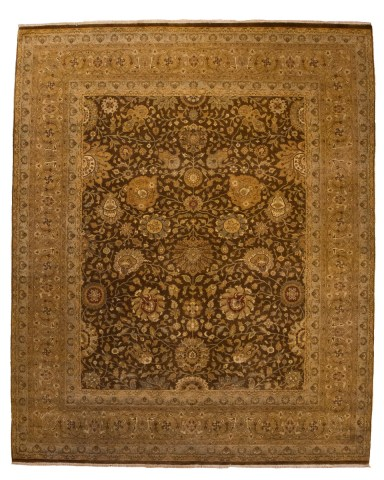 Antique finish with Spiral Blossom Brown Field with light brown boarder.