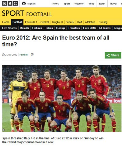 BBC: Euro 2012: Are Spain the best team of all time?