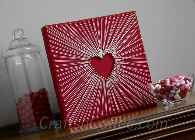 Easy, String-Art Heart - 25+ Valentine's Day Home Decor Ideas - NoBiggie.net