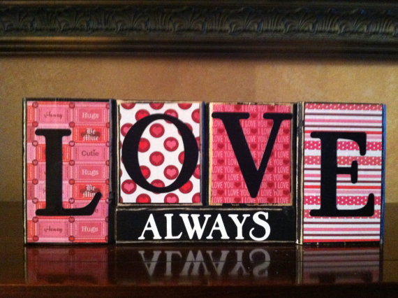 Wood LOVE ALWAYS block set - 25+ Valentine's Day Home Decor Ideas - NoBiggie.net