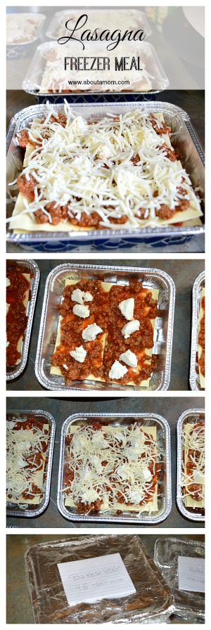 Lasagna Freezer Meal Recipe via About a Mom