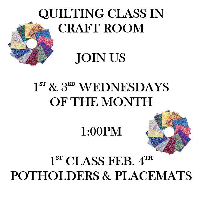 Craft Classes starting february