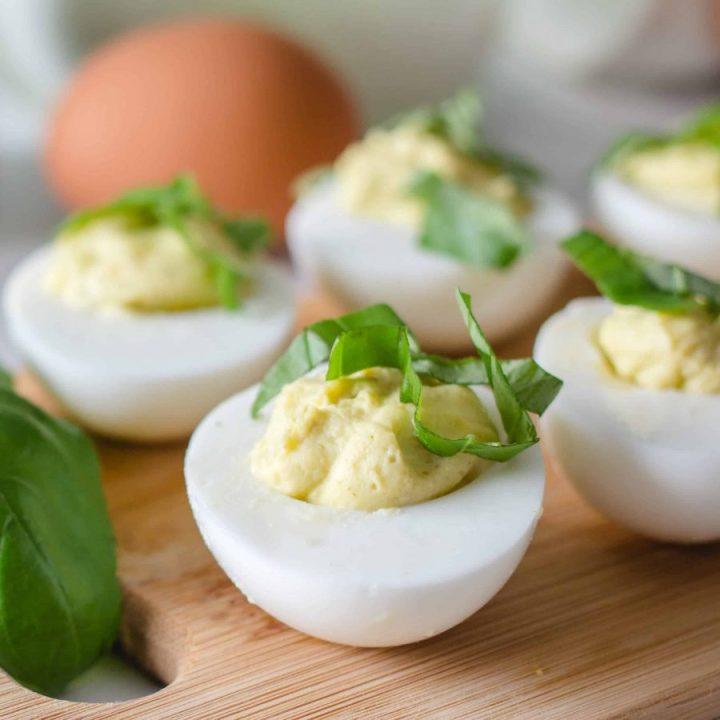 Devil Eggs with Pesto Stuffing