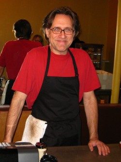 Andrea Spella at his new cafe in downtown Portland, Ore.