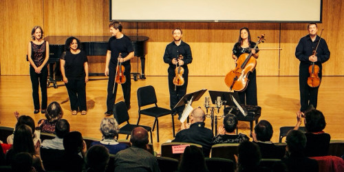 Third Angle String Quartet with Gabriela Lena Frank. Photo: Tom Emerson Photography